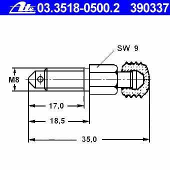 Entlüftungsventil M7x1.00 26 mm Entlüfterschraube ATE