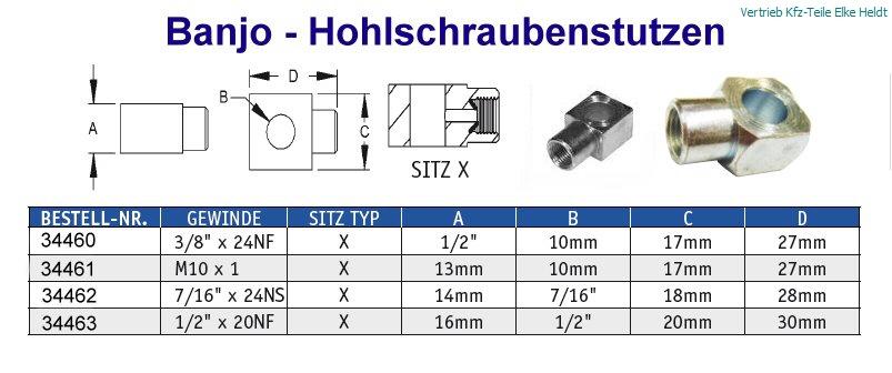 """Adapter 1//8 /"""" Npt Buchse auf M10 X 1,25 mm Mann für Bremsschlauch Anschluss"""
